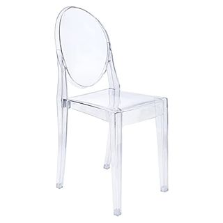 Modern Acrylic Stacking Kitchen and Dining Room Armless Chair
