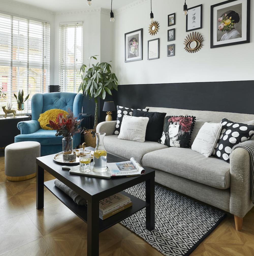Monochrome living room, turquoise armchair