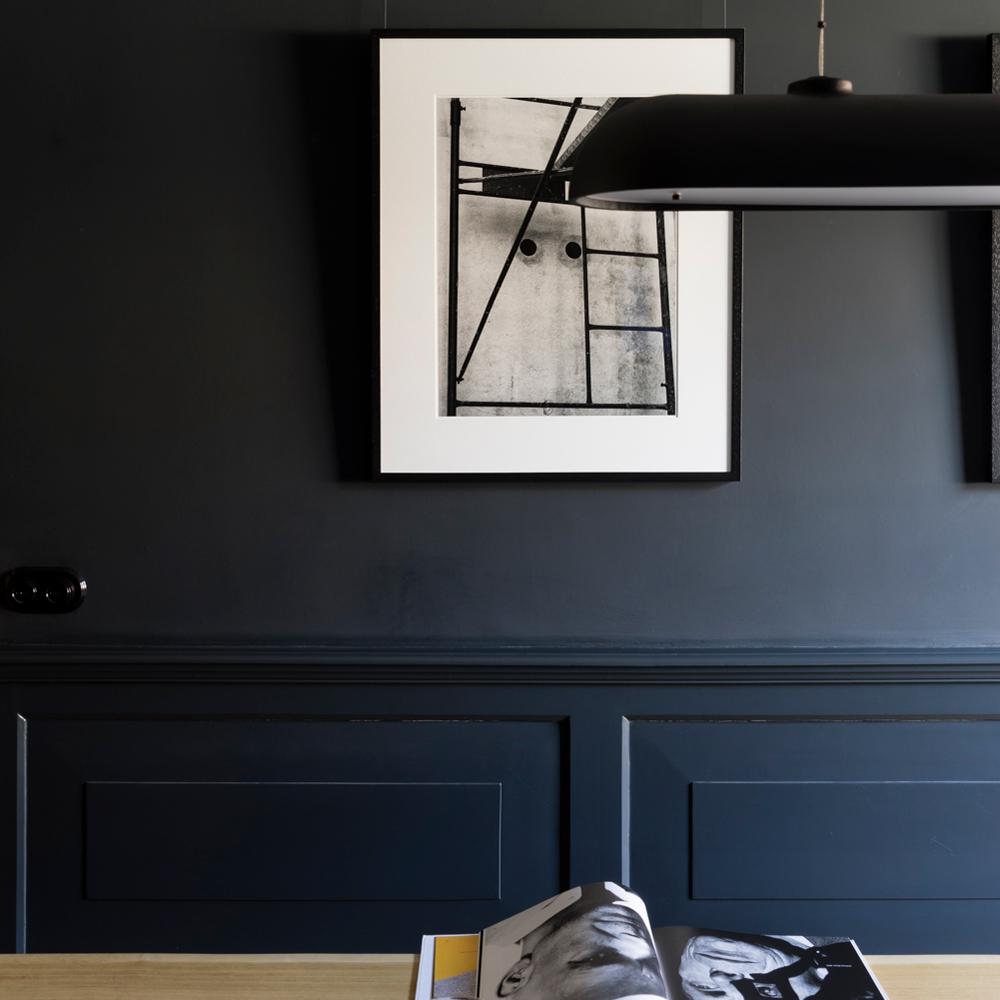 blue black walls in living room