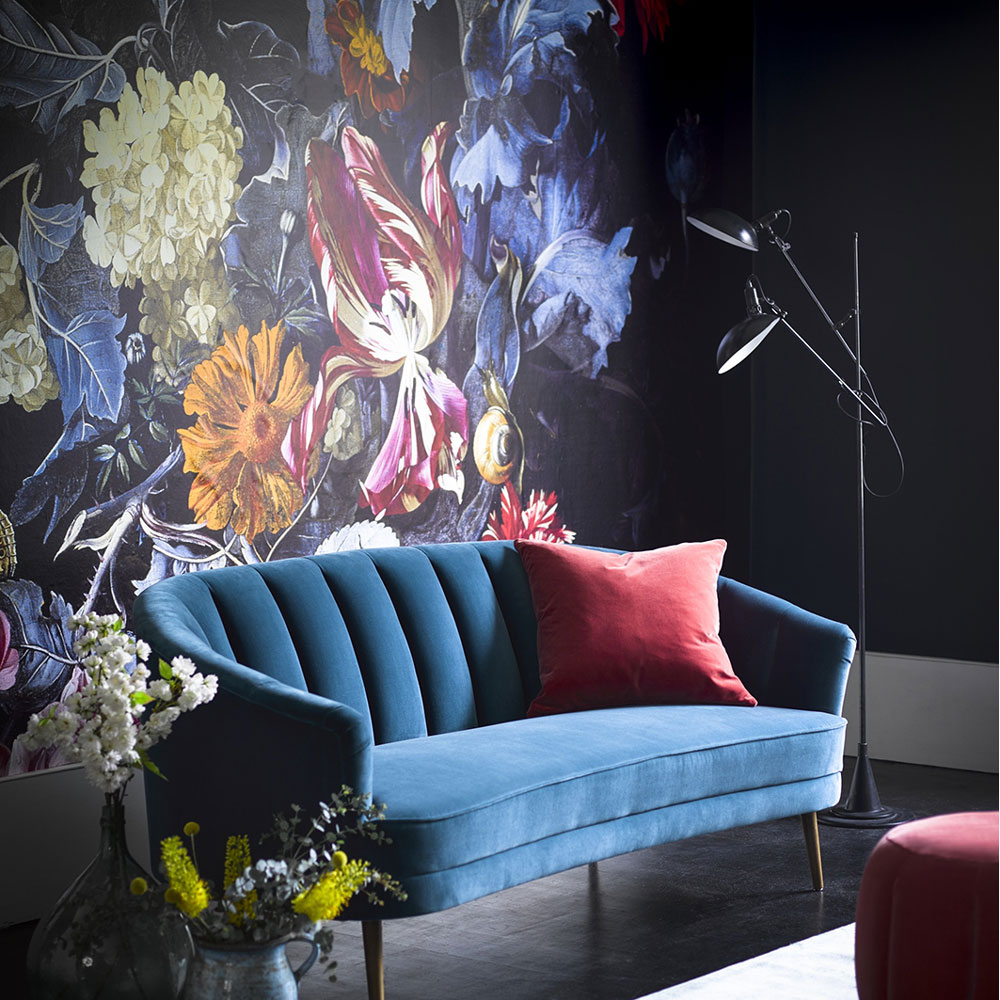 Living room feature wall with large floral mural